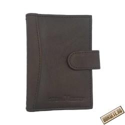 Port card, piele naturala, maro, 7.5 x 11 cm, B702M