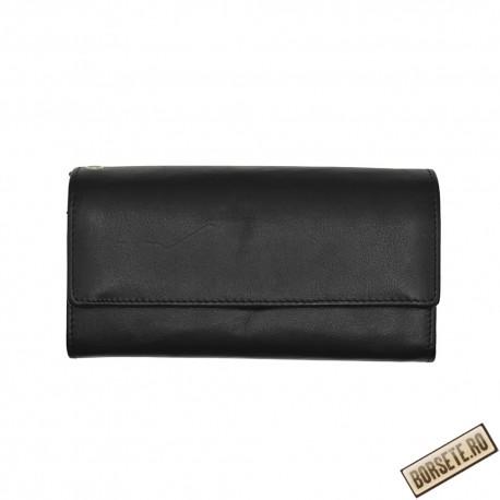 Portofel ospatar, piele naturala, negru, 17,5 x 10 cm, L687-01