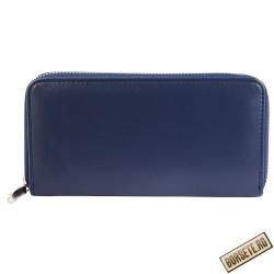 Portofel dama, imitatie piele, albastru inchis, 19 x 10 cm, 67-002