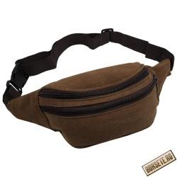 Borseta sport de brau, material textil, maro, 20 x 12 cm, ABC299 - Borsete de brau
