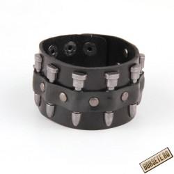 Bratara rock, piele naturala, negru, 14896