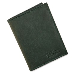 Port card, Tillberg, piele naturala, verde, 8 x 11,5 cm
