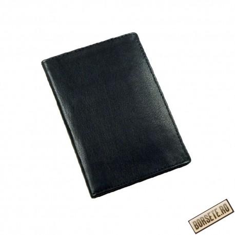Port card, piele naturala, negru, 8,5 x 12 cm - Port carduri