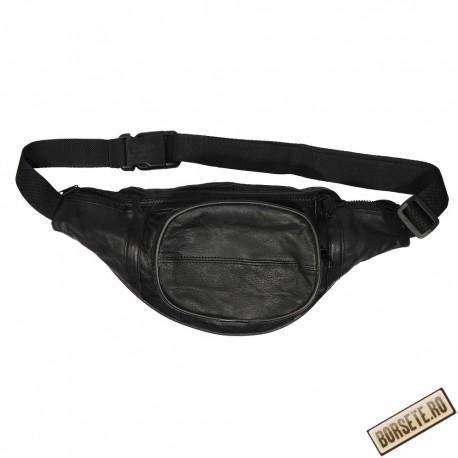 Borseta talie, barbati, neagra, piele naturala, 34 x 15 cm, S903 - Borsete de brau