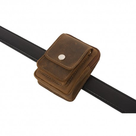 Borseta pentru curea, piele naturala, maro, 8,5 x 11,5 cm, L7003 - Borsete pentru curea