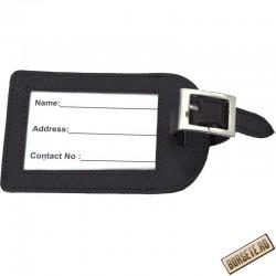 Eticheta bagaje, tag travel, piele naturala, negru, 11 x 7 cm, L115N