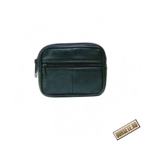 Borseta pentru curea, negru, piele naturala, 12 x 9,5 cm, L017N