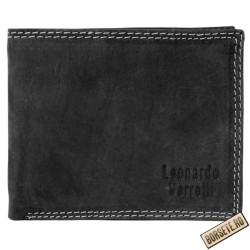 Portofel barbati, piele naturala, negru, 11 x 9 cm, Leonardo Verrelli, 06-001