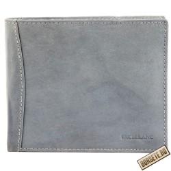 Portofel barbati, piele naturala, gri, 12 x 10 cm, Excellanc, 125-004