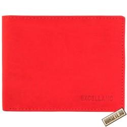 Portofel barbati, piele naturala, rosu, 11 x 9 cm, Excellanc, 232-003