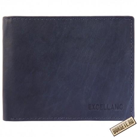 Portofel barbati, piele naturala, albastru, 11 x 9 cm, Excellanc, 232-004