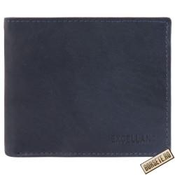 Portofel barbatesc, piele naturala, albastru, 11,5 x 9,5 cm, Excellanc, 233-004