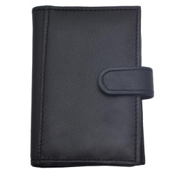 Port card, negru, piele naturala, 7.5 x 11.5 cm, B702 - Port carduri