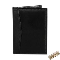 Port card, piele naturala, negru, 7.5 x 11 cm, B701N - Port carduri